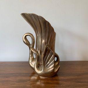 "Vintage Two Swans Brass Vase 7.25"" h"